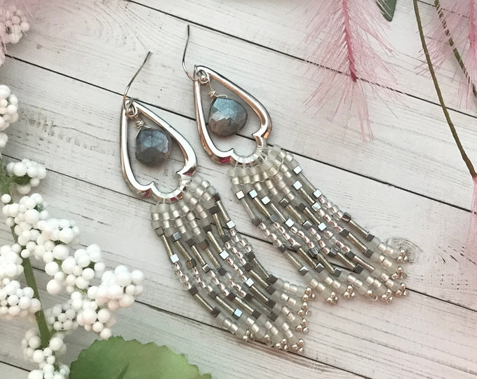 Trefoil, long fringe earrings with moonstone