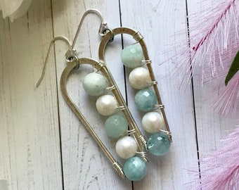 Luxe boho, modern dangle earrings with pearls and aquamarine beads. Fine silver plated brass hoop. Nickel free. Gift for women