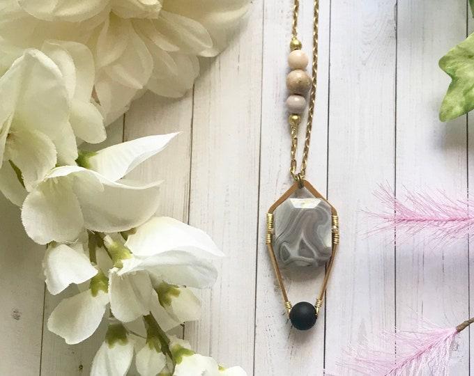 Botswana agate pendant necklace with onyx