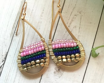 Summer fun - pink and blue - earrings