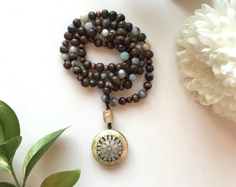 108 bead meditation mala, diffuser necklace with amazonite beads and dark wood beads, with brass diffuser for essential oils