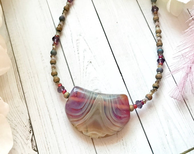 Handblown glass pendant and crystal necklace
