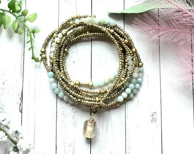 Featured listing image: Wrap bracelet on wire, adjustable bracelet with amazonite and gold seed beads