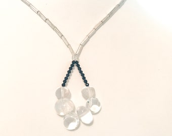 Statement necklace with crystal and glass beads