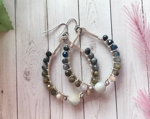 Hoop earrings with sapphire and aquamarine beads. Silver dangle earrings, large hoops with hombre colors of sapphires.