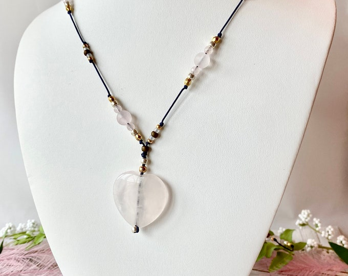 Luxe boho necklace with rose quartz heart pendant, hand knotted with rose quartz, pink opal and czech glass beads
