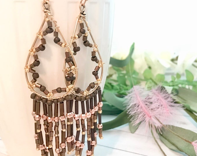 Long dangle earrings with beaded fringe, luxe boho style earrings; clip-on option available
