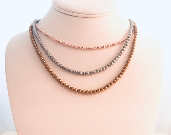 Hematite wrap necklace, rose gold, silver and golden hematite, luxe boho
