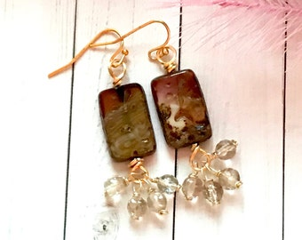 One of a kind czech glass, dangle earrings.