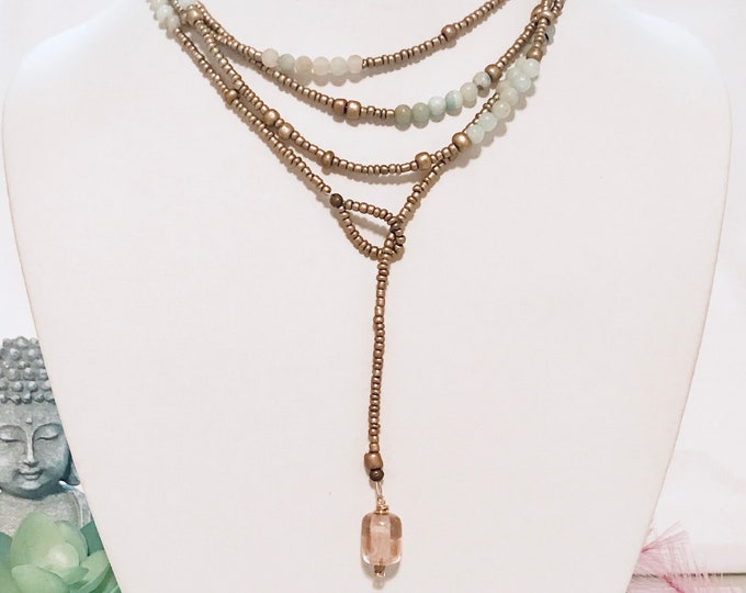 Long lariat, wrap necklace with amazonite and golden beads