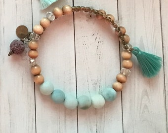 Wrap bracelet, memory wire bracelet, amazonite and wood beads, tassel, lava bead, essential oil diffuser