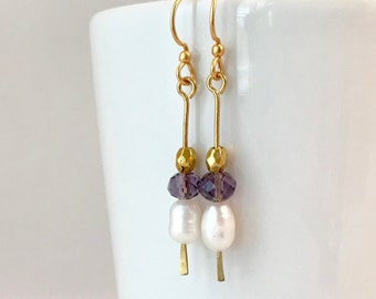 Dainty freshwater pearl and amethyst dangle earrings. Gold filled or brass earwires.