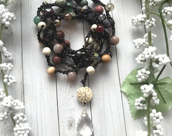 Crocheted beaded necklace with quartz Crystal drop pendant. Modern boho luxe necklace. Gift for women