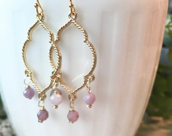 Pink sapphire earrings, gold marrekesh lantern style