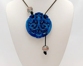 Carved Jade pendant in luxe boho style necklace with leather cord and lampwork beads. OOAK