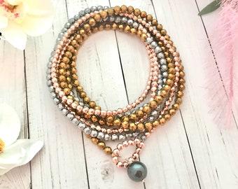 Hematite wrap bracelet, rose gold, silver and golden hematite, luxe boho bracelet
