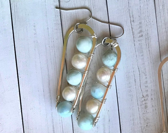 Pearl and larimar earrings