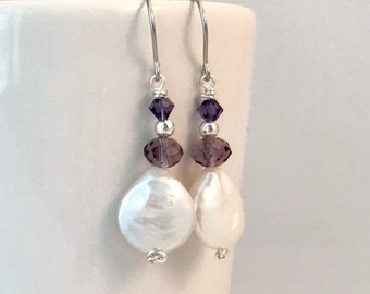 Coin pearls and amethyst bead earrings. Choose from sterling silver or surgical steel earwires