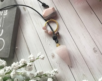 Rose quartz pendulum necklace