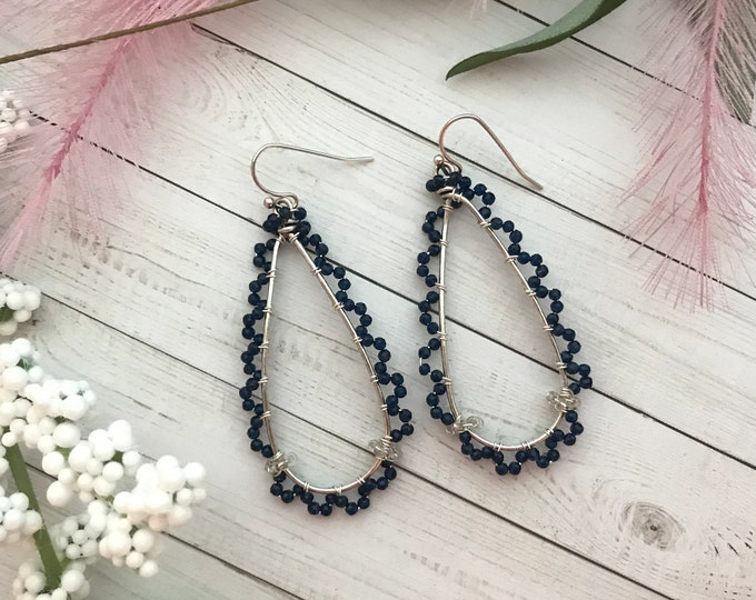 Long dangle earrings with navy blue swarovski crystal beads