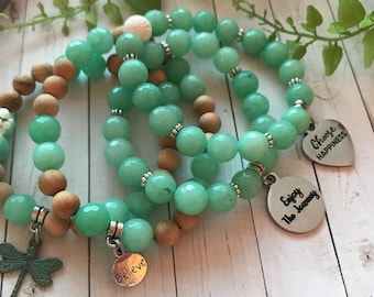 Green chalcedony bracelet with choice of mantra charm or dragonfly. Bracelet is stretch.