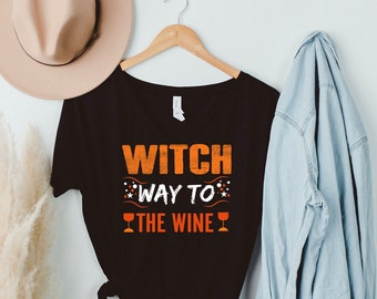 Witch Way to the Wine, Halloween, Women's short sleeve t-shirt
