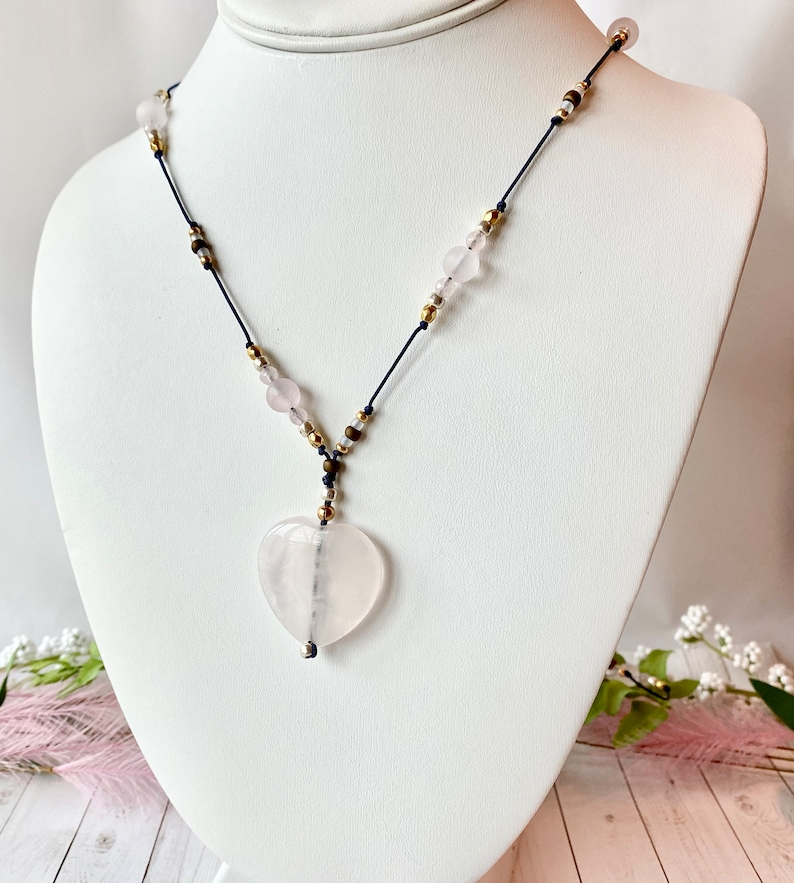 Luxe boho necklace with rose quartz heart pendant hand image 0