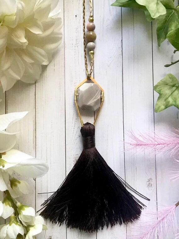 Modern bohemian, luxe boho, Botswana agate pendant necklace with brown silk tassel. 24k gold plated brass. OOAK