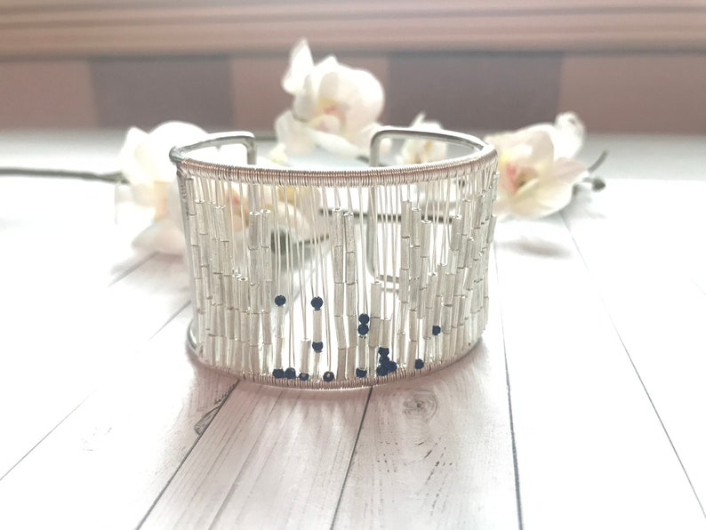 Mantra bracelet Morse code  Peace Love Joy  silver image 0