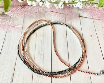 Hematite wrap necklace, rose gold, silver and black hematite beads, luxe boho style