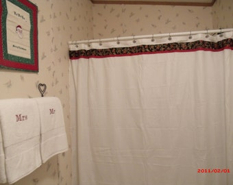 Christmas Shower Curtain And Towel Set Poinsettia Mr Mrs Towels Holiday
