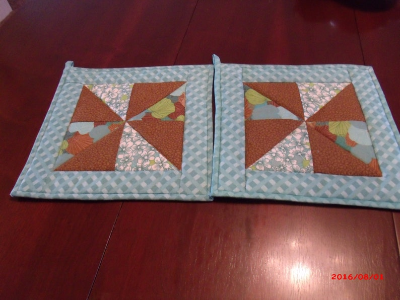 Quilted and Pieced Table Runner and Hot Pad Set Aqua and BrownTable Runner Set Hot Pad Set Mug Rugs