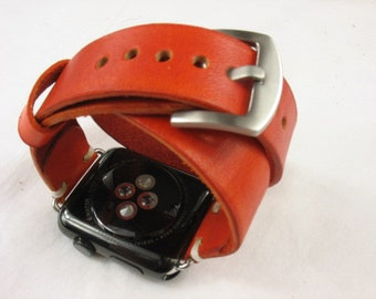 Leather double tour watch strap,Apple watch strap. Apple watch band,handmade