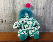 Small But Knowing Clown, Clown Figurine, Turquoise Clown, Jester Figurine, Creepy Doll, Creepy Clown, Jester Clown, Haunted Doll Watch