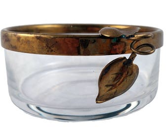 Vintage Candy Dish - Small Bowl - Gold Rim with Leaf Design - Vintage Bowl - Glass Bowl - Jewelry Bowl - Small Serving Bowl - Trinket Dish