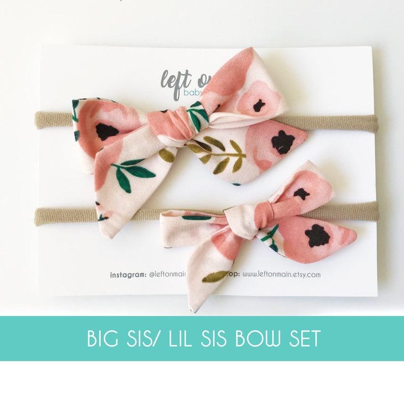 Floral-newborn headband bow-baby girl bows-nylon headbands-baby clip bows-poppy bows-baby shower gift-newborn headbands-big sis lil sis gift