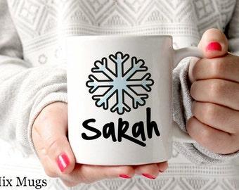 Snowflake Mug, Custom Name Mug, Christmas Coffee Mugs, Personalized Mug, Holiday Mugs, Winter Mugs, Stocking Stuffers Christmas Gift (k2111)