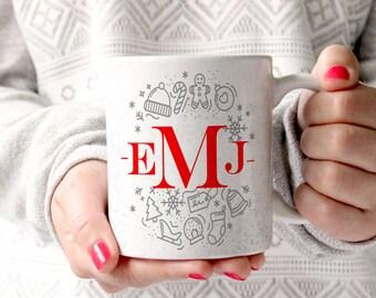 Monogram Christmas Mug, Holiday Mug, Winter Mug, Christmas Mugs for Teachers, Christmas Nurse Mug, Monogram Gifts, Monogram Mugs (X5411)