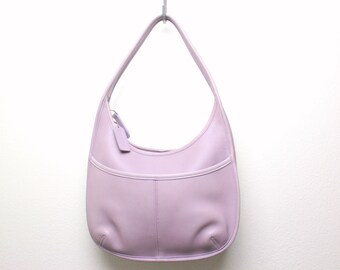 336335f88749 Vintage Coach Lavender Leather Purse - Ergo Hobo Bag - Rare Purple  9033  Crossbody Handbag Shoulder Bag Zipper Tote - Made in the USA
