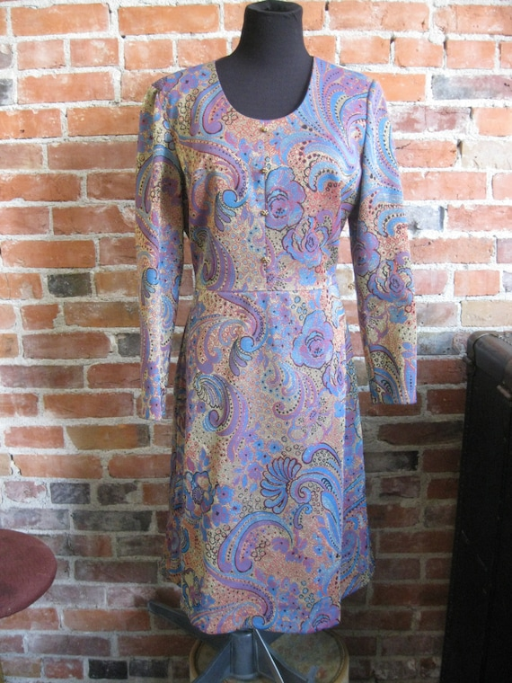 60/'s Metallic Paisley Print Wiggle Dress  Size M  Vintage 1960/'s Femme Fatale