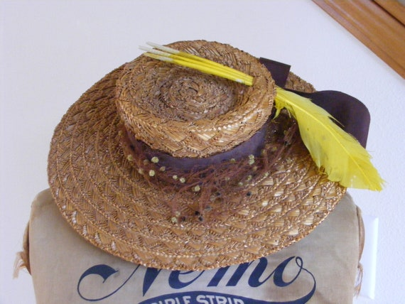 1930s Straw Boater Hat by Warner Brothers Studio S