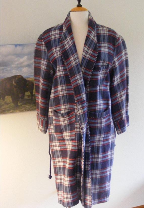 Vintage Original Beacon Blue Plaid Robe, Beacon Fa