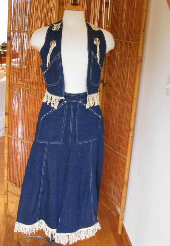 Vintage 1950s 50s Denim Skirt & Vest Set / 40s 50s