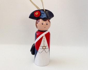 American Revolution Soldier Peg Doll (Ornament)