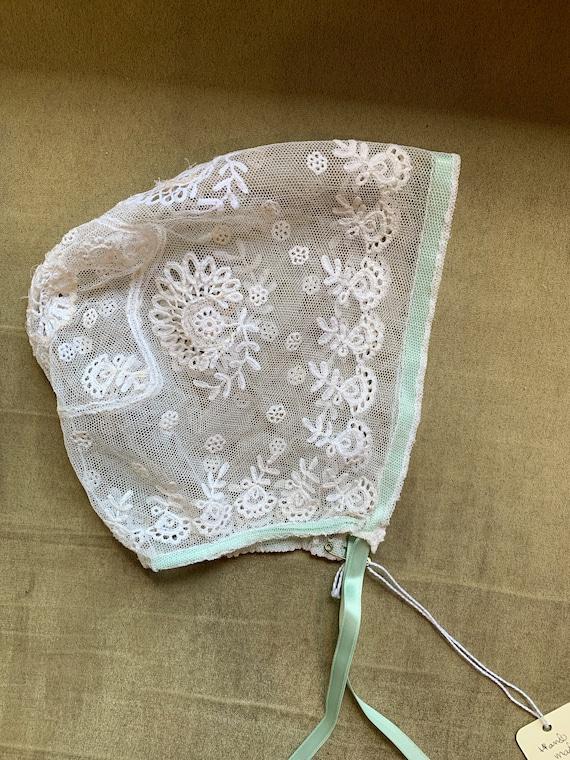 Pretty White Cotton Antique Victorian Handmade Baby\u2019s Bonnet Schiffli Lace
