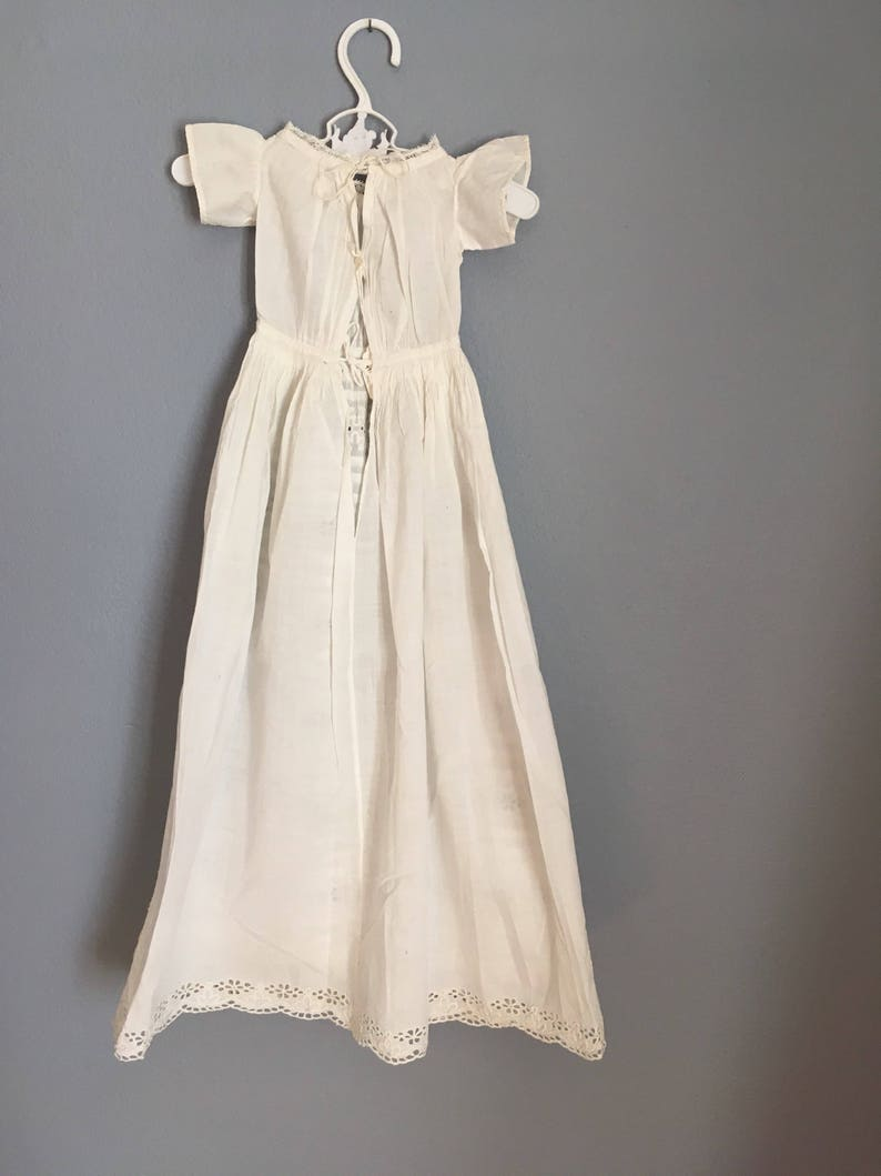 Hand embroidered victorian doll gown