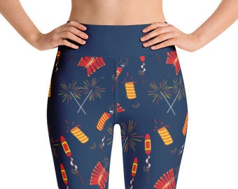 4th of july leggings, fireworks, celebration, red white and blue womens leggings, independence day, fourth of july