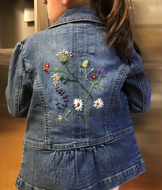 One of a kind Ready to ship. Upcycled hand embroidered floral print t-shirt