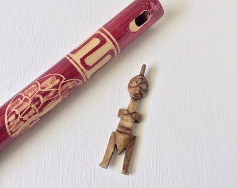 Vintage Hand Carved Horn Amulet, Talisman or Tribal Figure Pendant