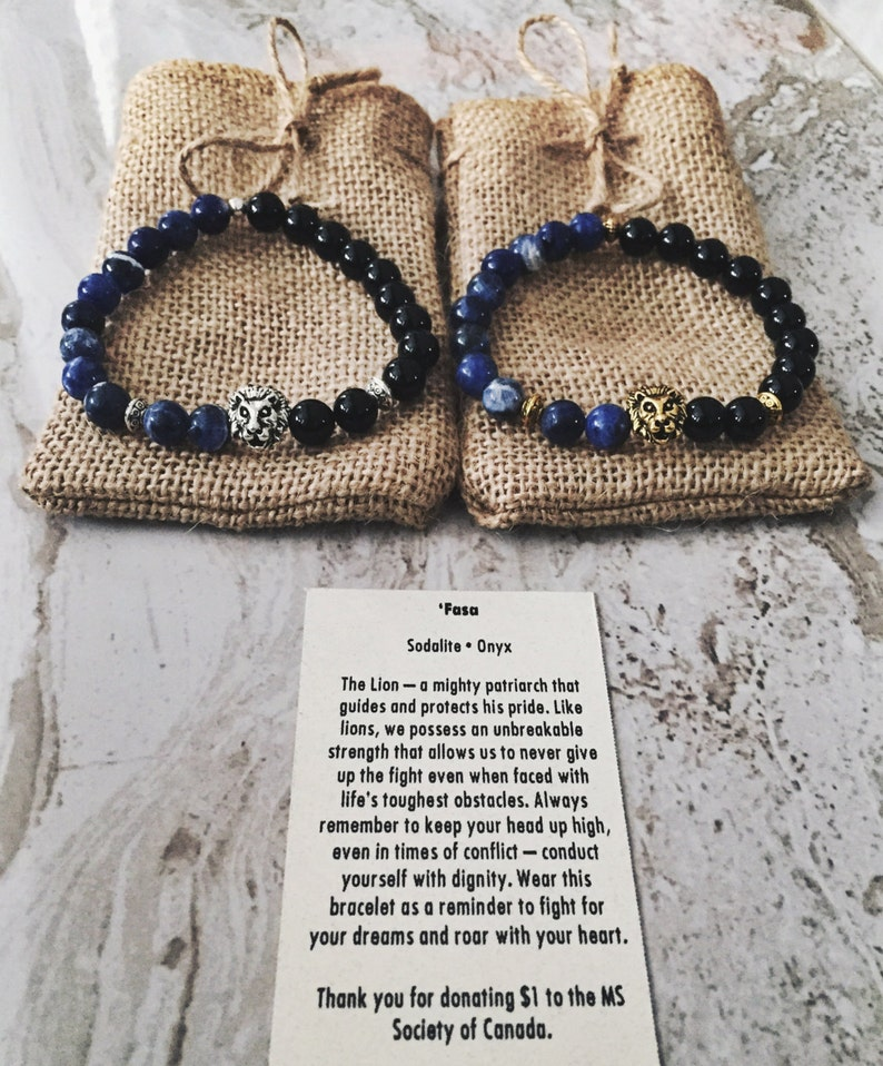 Gold/Silver Lion Head 8mm Natural Stone Beaded Bracelet gift for him or  her, Solidate and Black Onyx Stone, Unisex Bracelets